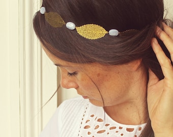 "Headband in chalcedony blue sky and golden leaves ""Coachella"" Pemberley jewelry / headband / necklace / Bohemian Headband / Coachella"