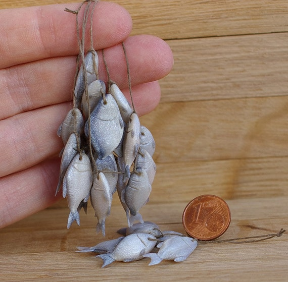 Miniature Dollhouse . A Bunch Of Fresh Fish . By
