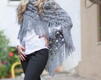 Shawl, Handmade Shawl, Crochet Shawl, Flower Scarf, Fashion Shawl, Triangle Scarf, Boho Shawl, Wrap Shawl, Fringe Shawl, Warm Shawl