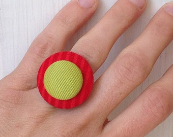 Red and green cloth Adjustable ring
