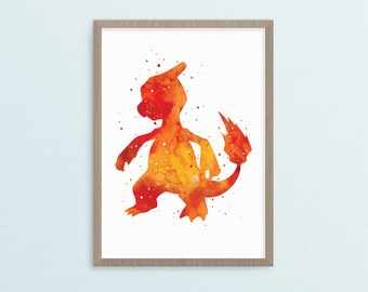 Charmeleon - Watercolour + Splatter - Pokemon - Digital Download