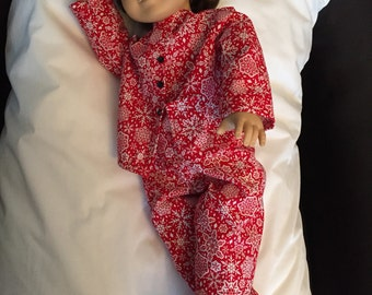Red Snowflake Pajamas for American Girl Dolls & 18 Inch Doll