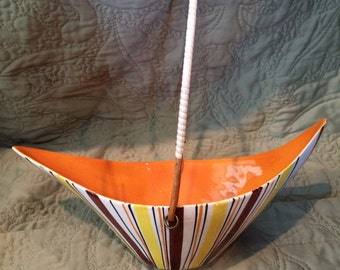 1950's Vintage Italian Boat-Shaped Ceramic Bowl with Bamboo Handle
