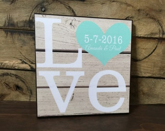 Personalized LOVE Wood Sign, Wedding Gift, Anniversary Gift, Gift For Her, Couples Gift
