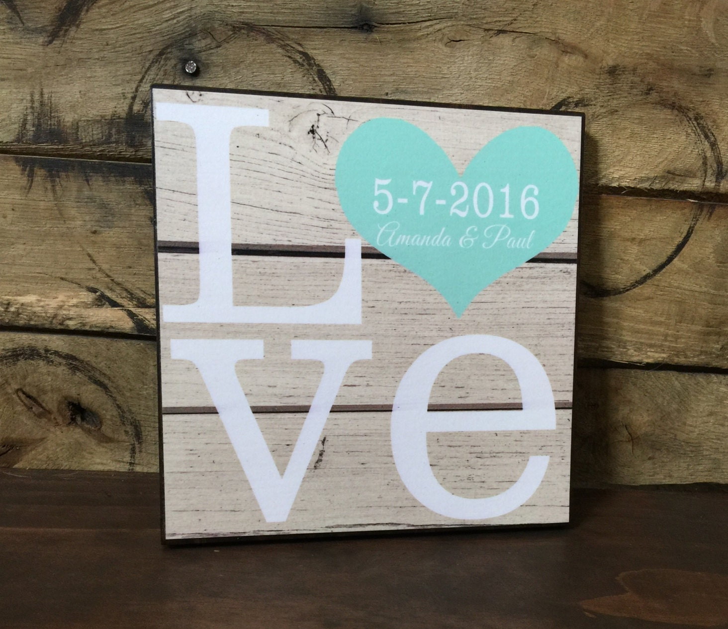 Unique Wedding Gifts Wood : Personalized LOVE Wood Sign Wedding Gift Anniversary Gift