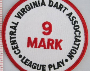 Central Virginia Dart Association 9 Mark Sew On Patch, Vintage Patch, Embroidered Applique Patch, Vintage Sports Patch, Embroidered Patch