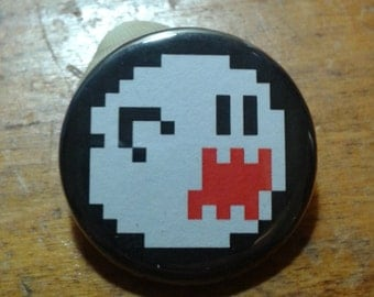 "8-bit boo from mario 1.25"" button"