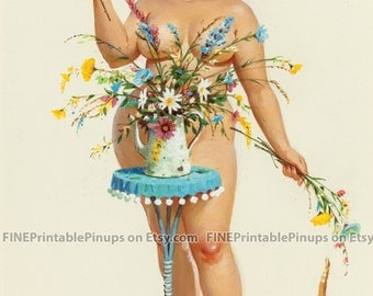 "Vintage Pinup Art Girl // 7""x10"" Printable Digital Download // Hilda by Duane Breyers - Flowers for Hilda"