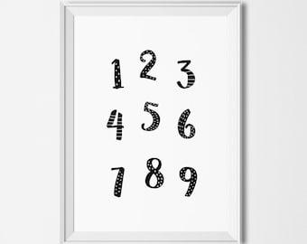 Printable numbers illustration, Educational printables, Monochrome numbers printable, Printable classroom decor , Educational wall art