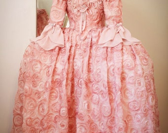 Marie Antoinette Dress, Masquerade Dress, Pink Dress For Girls, Marie Antoinette Costume, 18th Century Dress, 18th Century corset.
