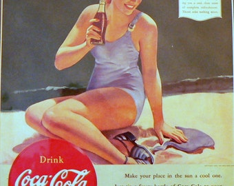 1940 Coca-Cola Ad Girl in Swimsuit Matted Vintage Print