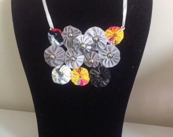 Handsewn Grey, Yellow and Black Upcycled Fabric Ribbon Suffolk Puff Yo Yo Bib Necklace -