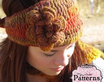 CROCHET EARWARMER PATTERN- Intermediate Crochet Pattern, includes pattern for flower