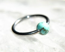 Light Turquoise Bead Cartilage Hoop, Body Piercing Jewelry, 16g or 14g, 316L Stainless Surgical Steel, Captive Bead Ring, Tragus Helix Daith