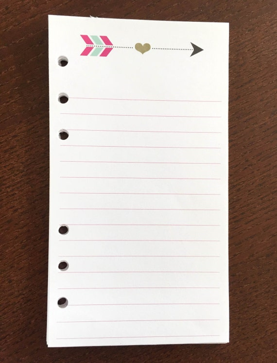 Arrow With Heart Lined Note Paper