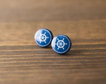 Nautical earrings, navy stud earrings, helm, minimalist, blue and white, stud earrings