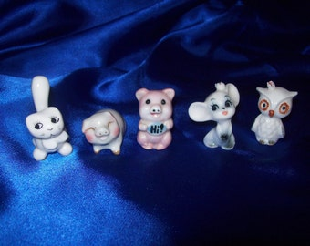 5 Vintage Porcelain Animals Owl, 2 Pigs, Cat and a Mouse