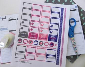 Printable Book Stickers/Reading Stickers \\ INSTANT DOWNLOAD \\ For your Erin Condren Planner, Plum Paper Planner, Kikki K, Filofax