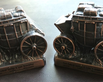 Vintage Metal Coin Banks, Metal Stagecoach Banks, Promotional Metal Coin Banks, Set of 2.