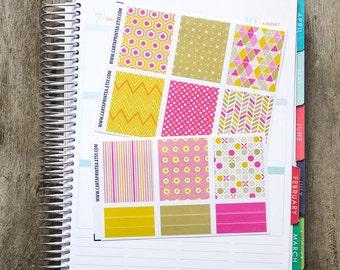 9 full box sticker, square sticker, planner stickers, geometric abstract notebook agenda journal eclp filofax happy planner