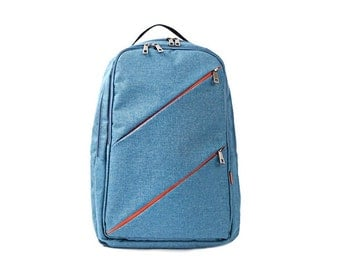 ONLY 1 LEFT - SALE <<46 ⇒ 36 Dollars>> Unique Diagonal Pocket Business Backpack (Blue)