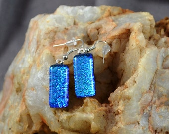 fused glass dichroic earring, blue,silver, sparkle, handmade, kiln fired