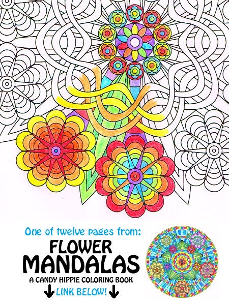 Mandala Coloring Page Flower Power Instant Download Art To