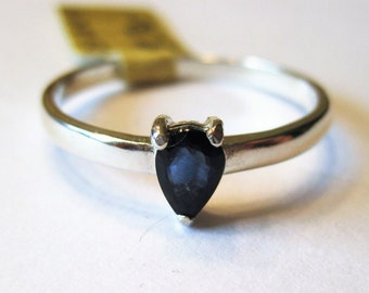 Blue Sapphire (6x4mm) Faceted Gemstone Sterling Silver Ring Size 9, No. 1151.