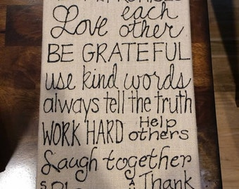 Canvas Quote Wall Art- Family Rules