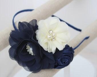 Navy blue headband flower girl headband navy blue wedding headband ivory headband navy blue and ivory girls headband girls navy blue bows