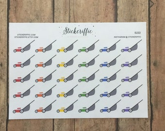 S222  Rainbow Lawnmower Stickers for your Planner, Journal, or Scrapbook