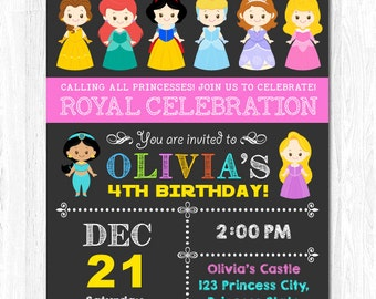 Princess Invitation, Disney Princess Invitation, Birthday Princess Invitation, Disney Princess Birthday Party