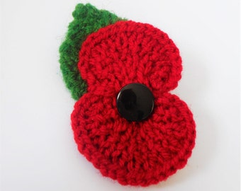 Knitted poppy brooch with leaf, poppy pin flower brooch, Poppy appeal, charity pin, remembrance day, armistice day,charity donation