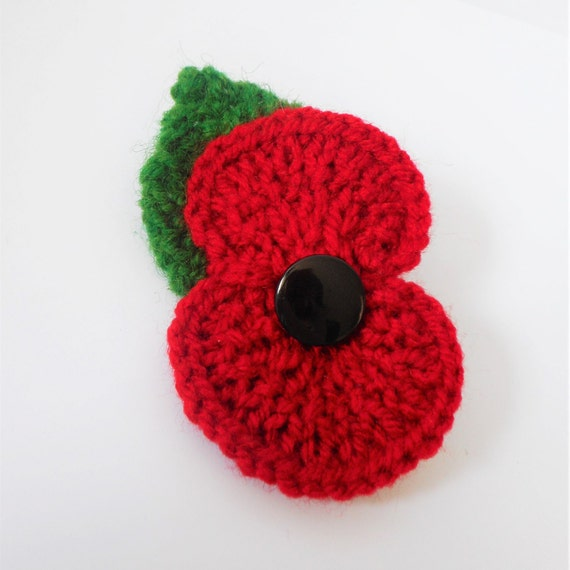 Knitting Pattern For Poppy Brooch : Knitted poppy brooch with leaf poppy pin flower brooch Poppy