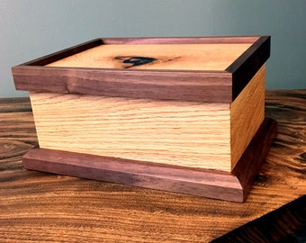 White Oak and Black Walnut Valet Box | Keepsake | Jewlery