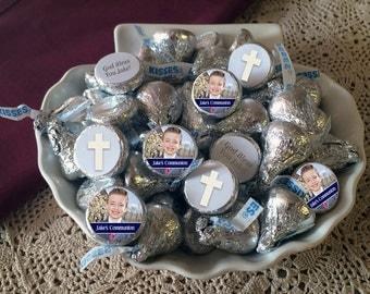 108 Hershey Kiss® Stickers - Communion Kiss Seals - Candy Labels - Wedding Favors - Hershey® Kiss Seals  - Photo Kiss Seals - Cross Seals