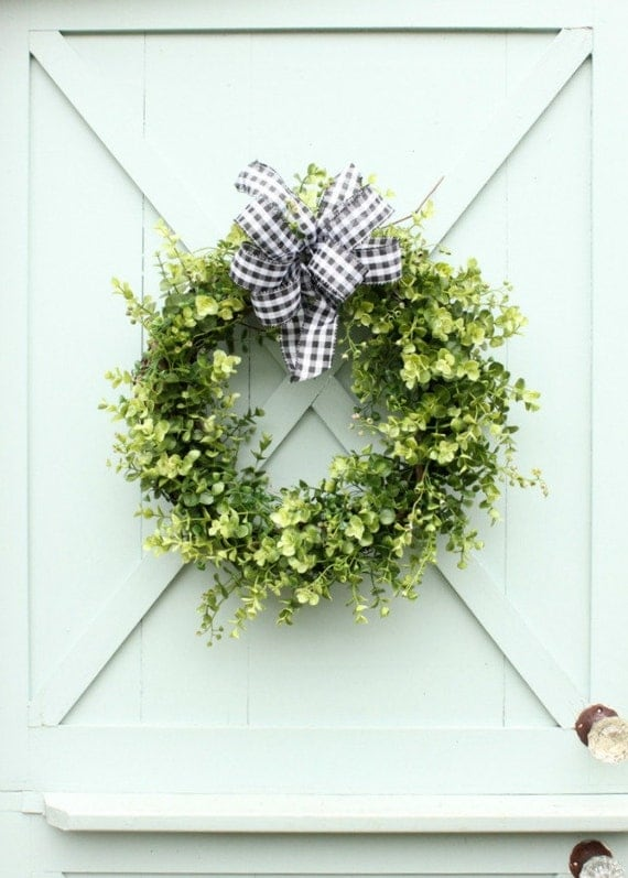 Boxwood Christmas Wreath ~ Boxwood Wreath ~ Black and White Gingham Bow Wreath