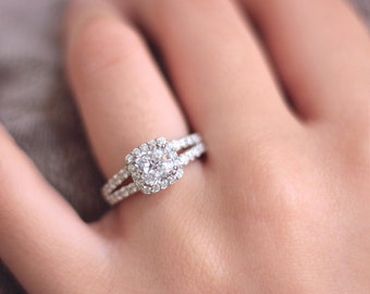 1.56 ct.tw Halo Engagement Ring-Cushion Cut Center Diamond Simulant-Double Shank-Wedding Ring-Bridal Ring-Solid Sterling Silver [3451]