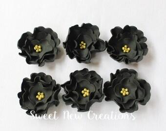"black fondant flowers 1.5"" edible flower cupcake topper black wedding cake topper cake pop decorations bridal shower anniversary"