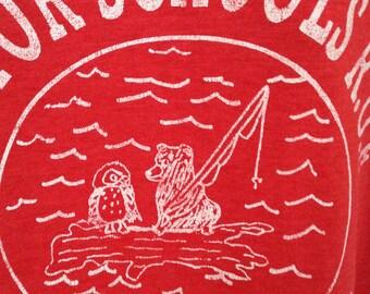 T Shirt Vintage Nostlogic  Camp Whitewood Mentor Schools R.O.E Retro Shirt Soft Tee Red Shirt Mens Womens Camping Logo Shirt Medium Vintage