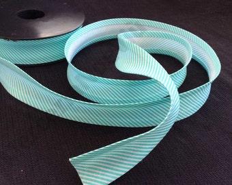 """3 meters (3,27yds) large striped printed cotton 1""""  bias tape aquamarine white fantasy"""