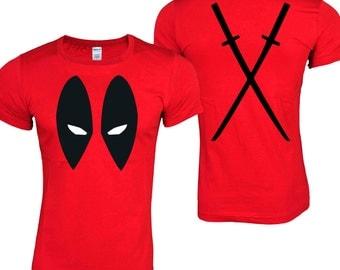 DEADPOOL Antihero Eyes Front & Back Katanas Red T-Shirt ADULT SIZES