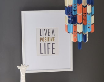Blue, Tangerine and Cream Aztec Arrow Paper Mobile Chandelier (With Chevron Cutouts)
