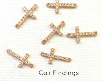 "18K Rose Gold Plated Cz Pave Cross Connector, Rose Gold Sideways Cross, Pave Cross Connector, Pave Cross, ""Diamond Cross"" Cross Charm [1420]"