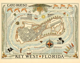 Key West Florida Pictorial Map 1940 Vintage  Giclee Fine Art Print