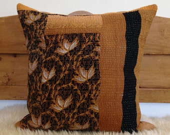 """Vintage Indian Kantha Quilt Pillow Cover, 18"""" x 18"""", Handmade, Ethnic, Bohemian"""
