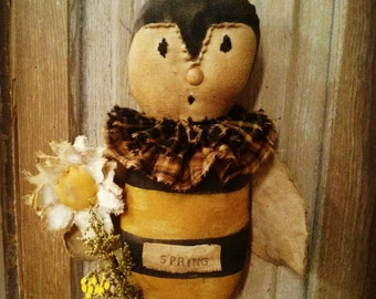 Primitive Folk Art Bee Bumble bee HAHA Hafair Faap Cloth doll Spring