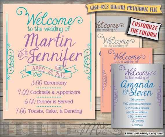 Wedding Schedule Sign Printable Welcome Poster By