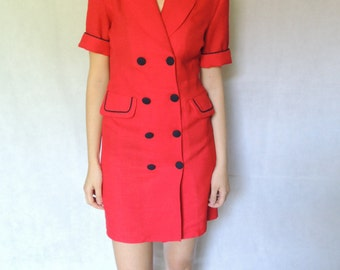 Vintage Secretary Double Buttoned Red Dress