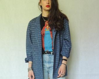 Vintage Oversized Blu Metallic Thread Blazer